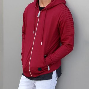 19 Zip Up Hoodie with a Stylish Louvered Style