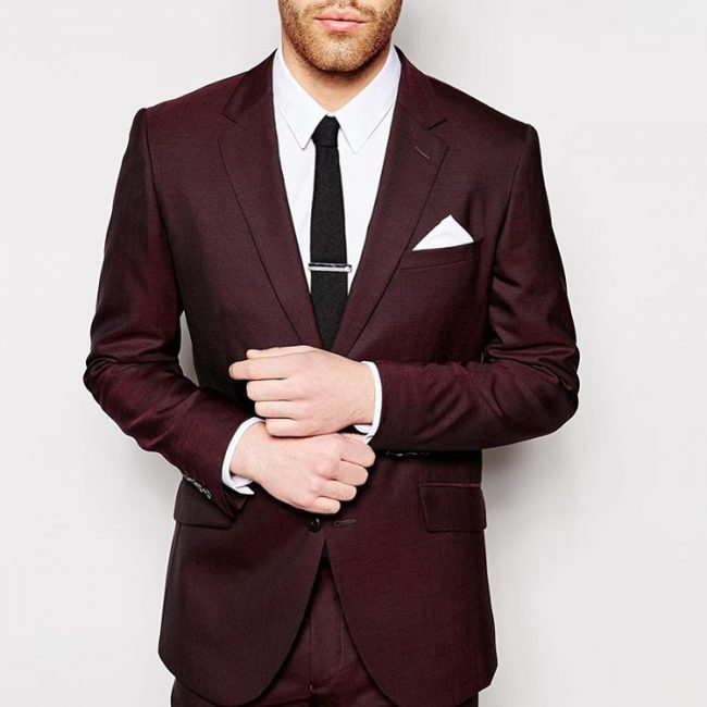 2 Bespoke Maroon Suit with One Point Pocket Square Folding