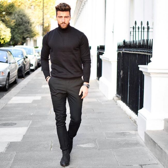 2 Black Pants & Black Turtleneck Sweater