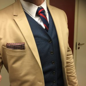 2 Blue Dotted Suit Vest & Brown Suit