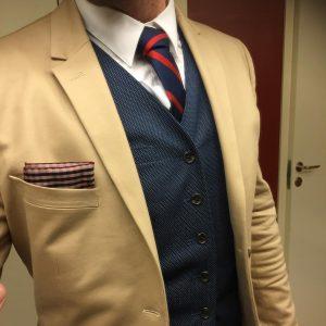 2 Blue Dotted Suit Vest & Brown Suit