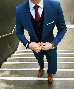 2 Dark Gray Four Button Suit Vest