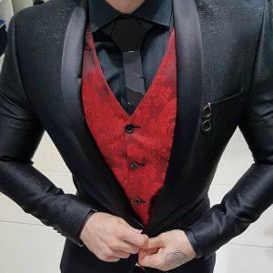 2 Designer Suit Vest & Designer Black Suit