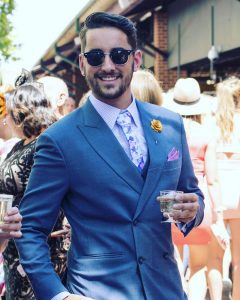 2 Fitted Double-Breasted Royal Blue Four Button Suit
