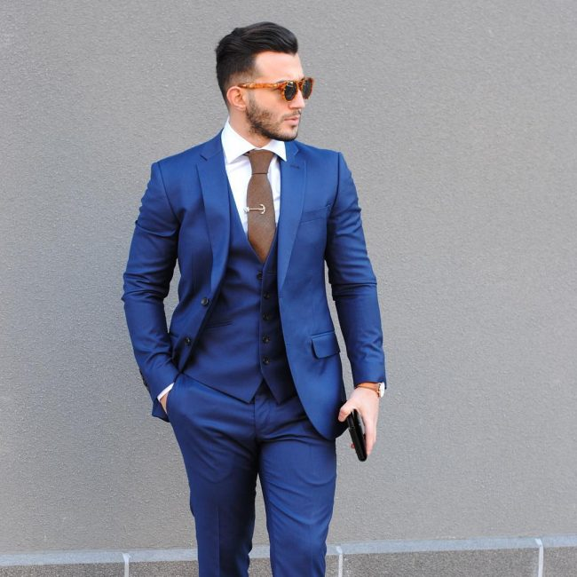 2 Fitted Double-Button 3-Piece Designer Royal Blue Suit
