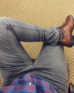 2 Fitting Gray Jeans Pants & Brogued Plain Toe Brown Shoes