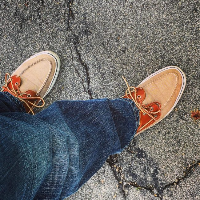 2 Orange- Laced Shoes and Denim Blue Pants