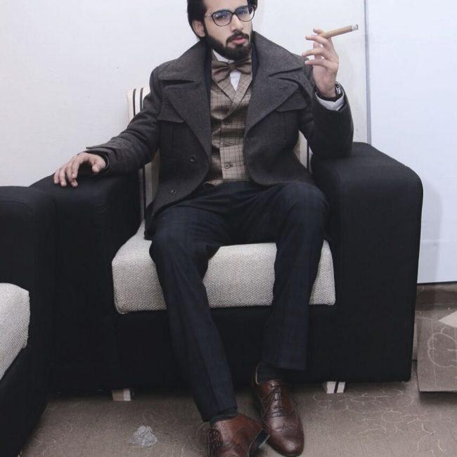 20 Dark Gray Suit Pants & Brown Brogued Shoes