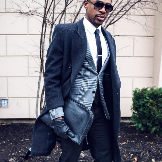 20 Fitted Black Suit Pants & Gray Checkered Waist Coat