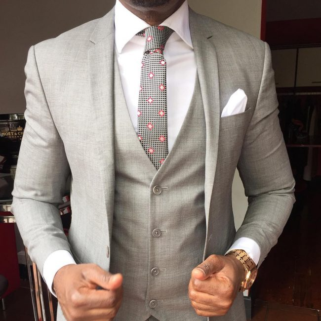 20 Light Gray Four Button Suit Vest