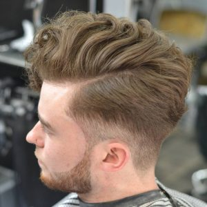 20 Permed Pompadour with Low Tapered Buzz