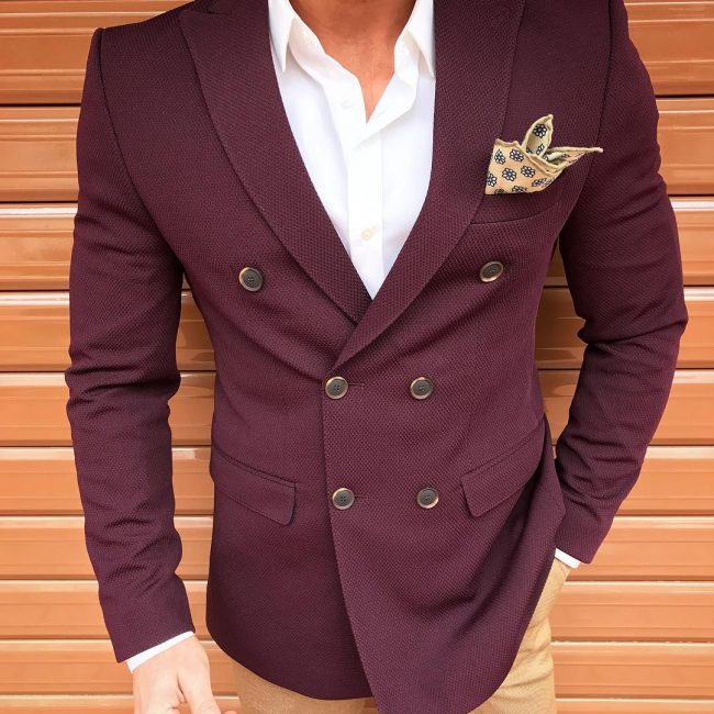 20 The Double Breasted Blazer with a Signature Flowered Pocket Square