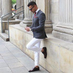 20 White Pants & Blue-Gray Blazer