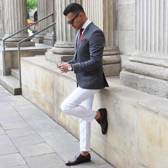 20 White Pants & Blue-Gray Blazer
