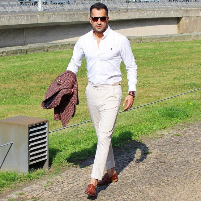 21 Cream White Pants & White Fitted Shirt