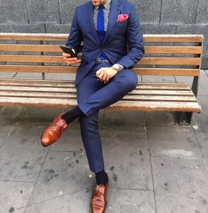 21 Fitted Designer Blue Suit