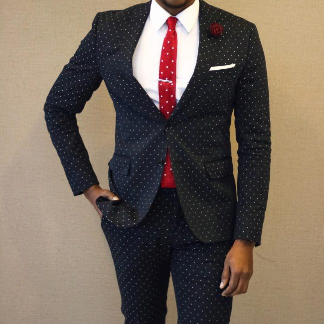 21 Fitted Royal Blue White-Dotted Suit