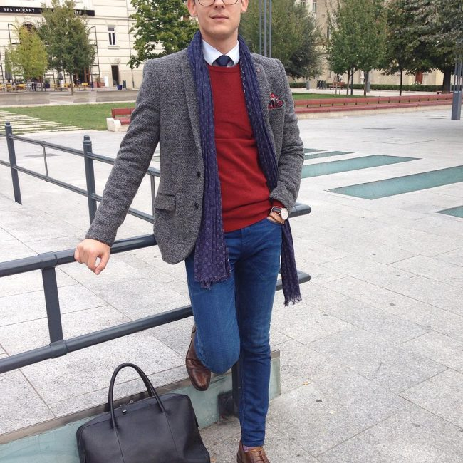 21 Grey Heavy Blazer & Fitting Blue Jeans