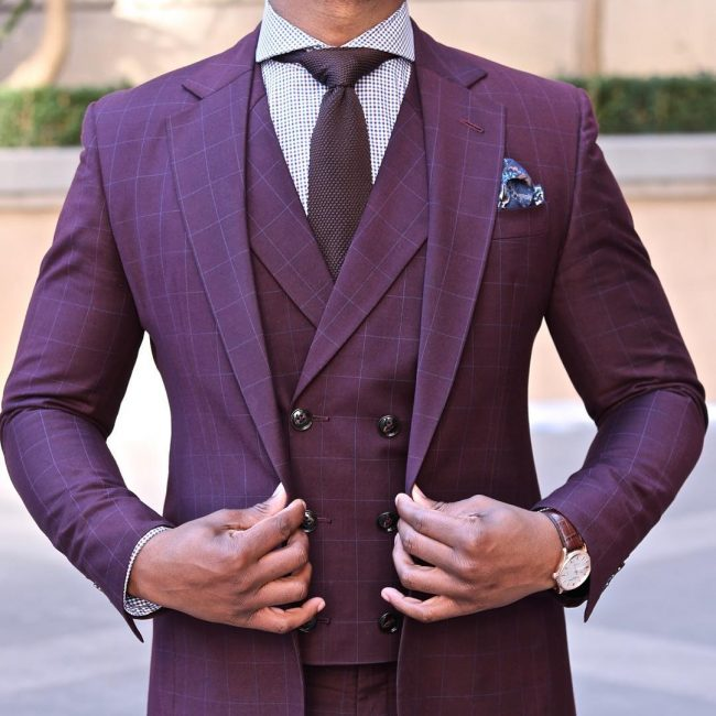21 Maroon Squared Double Breasted Suit Vest