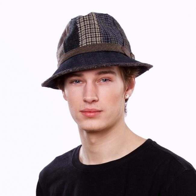 21 Patchwork Wool And Denim Fedora Hat For Men