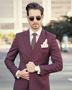 21 Pinstriped Suit Maroon Suit with a High Pocket Square Game