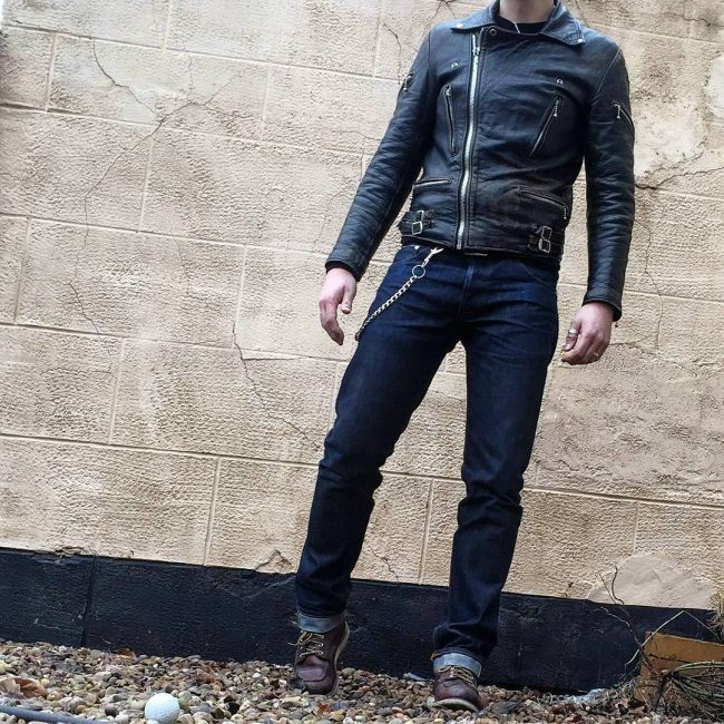 21 Slim-Fit Blue Pants & Black Jacket
