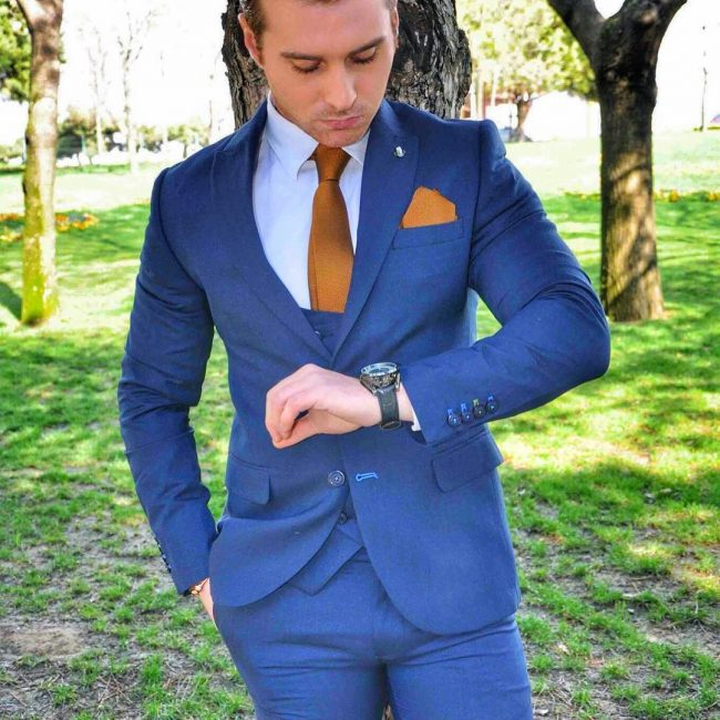 22 A Blue Suit Vest & A Matching Blue Suit