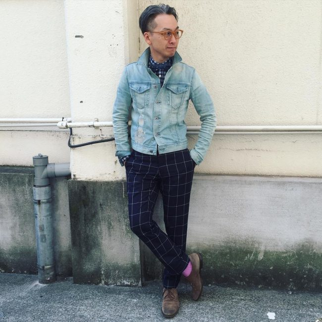 22 Checkered and Denim Combination