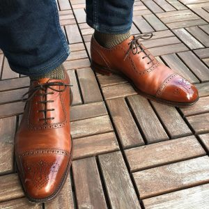 22 Denim and Brown Leather Shoes