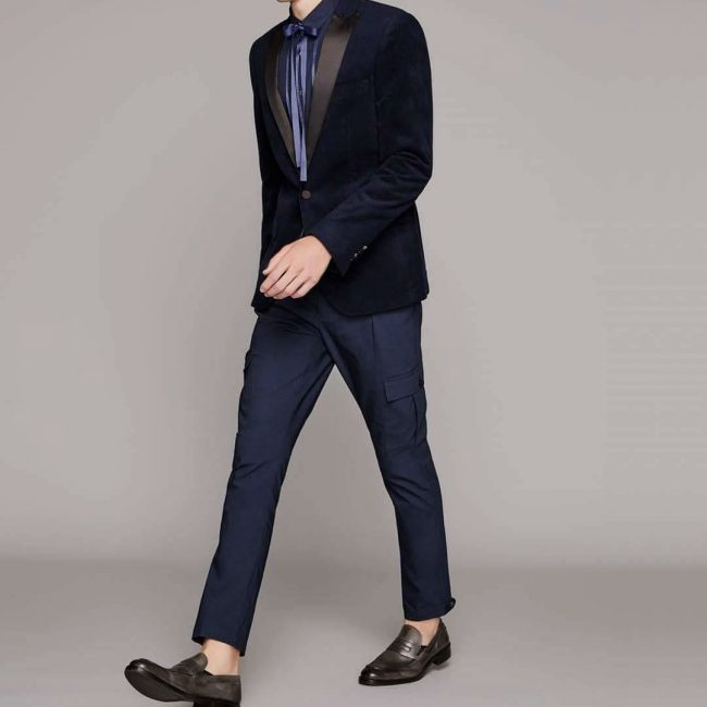 22 Navy Blue Cargo Pants &Navy Blue Tuxedo Jacket