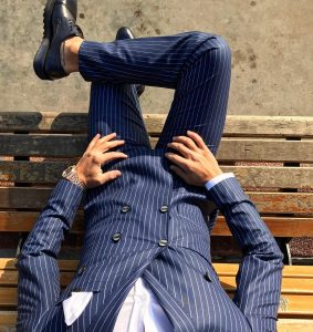 22 Royal Blue-White Striped Double Breasted Suit