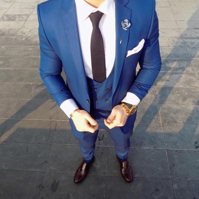 23 Blue Fancy Suit Vest