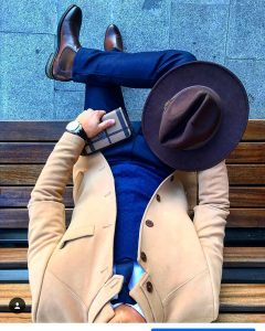 23 Fitted Blue Pants & Fitted Light Brown Wool Blazer