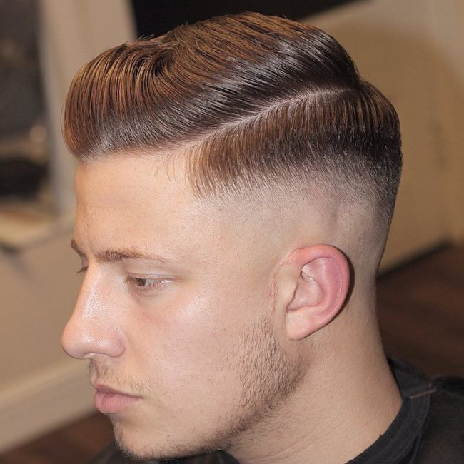 23 Glossy Pomp with Tapered Skin Fade
