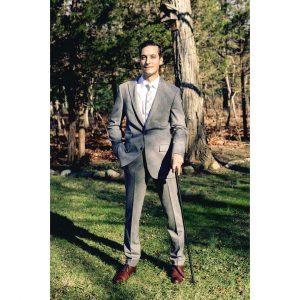 23 Gray Wool Suit & Brown Plain-Toe Derby Shoes