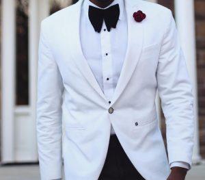 24 Black Suit Pants & White Single-Button Jacket Coat