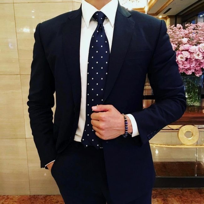 24 Black and Blue Fitted Suit of the Fall