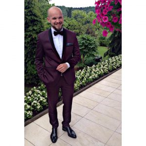 24 Burgundy and Black Suit