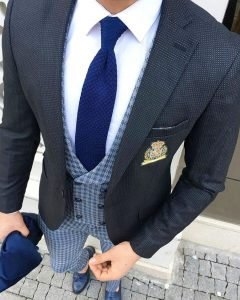 24 Checkered Blue Three Button Suit Vest