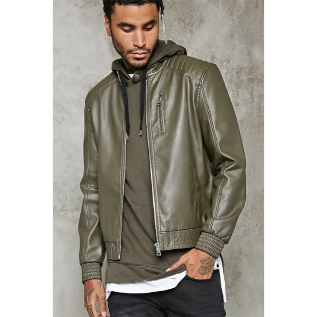 24 Faux Leather Motor Jacket with Hood