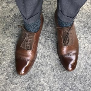 24 Gray Suit Pants & Custom Made Brown Shoes