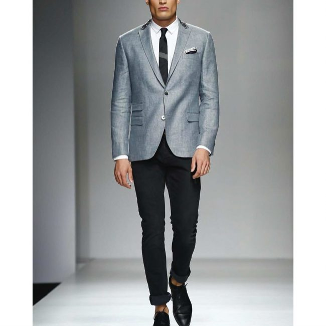 24 Grey Designer Blazer & Fitting Black Pants