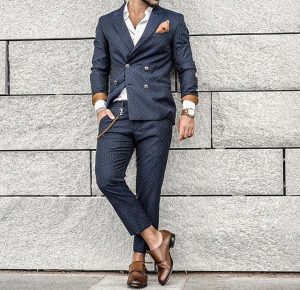 24 Navy Blue Dotted Double-Breasted Suit