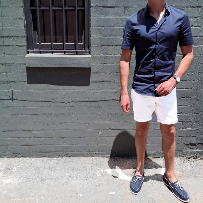 24 Navy Blue Shoes and White Shorts