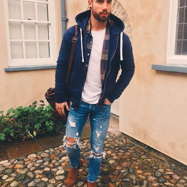 24 Winter Layering with Ripped Style