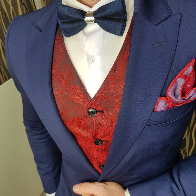 25 A Designer Suit Vest & Navy Blue Suit