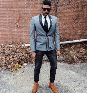25 Black Slim Fit Jeans Pants & Light Gray Designer Blazer