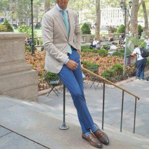 25 Blue Pants and Beige Blazer