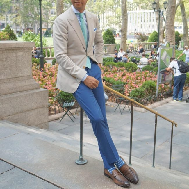 25 Blue Pants and Beige Blazer