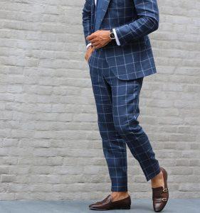 25 Fitted Plaid Royal Blue Suit & Monk Shoes